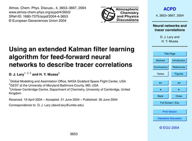 Using an Extended Kalman Filter Learning... by Lary, D. J.