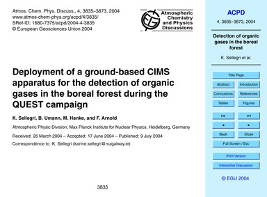 Deployment of a Ground-based Cims Appara... by Sellegri, K.