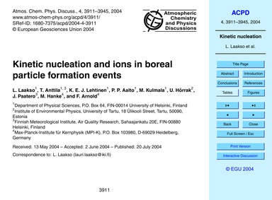 Kinetic Nucleation and Ions in Boreal Pa... by Laakso, L.