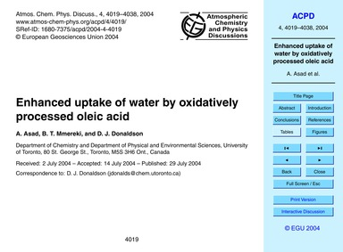 Enhanced Uptake of Water by Oxidatively ... by Asad, A.