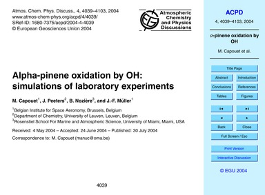Alpha-pinene Oxidation by Oh: Simulation... by Capouet, M.