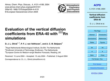 Evaluation of the Vertical Diffusion Coe... by Olivié, D. J. L.