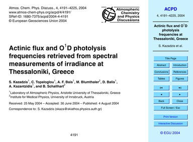 Actinic Flux and O1D Photolysis Frequenc... by Kazadzis, S.