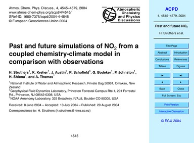 Past and Future Simulations of No2 from ... by Struthers, H.