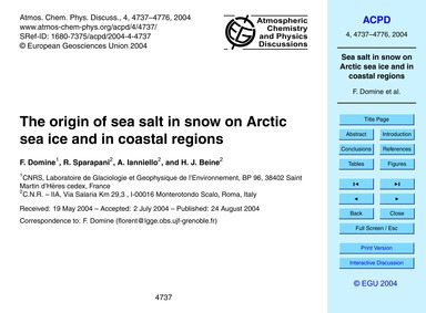 The Origin of Sea Salt in Snow on Arctic... by Domine, F.