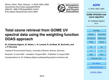 Total Ozone Retrieval from Gome Uv Spect... by Coldewey-egbers, M.