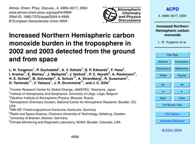 Increased Northern Hemispheric Carbon Mo... by Yurganov, L. N.