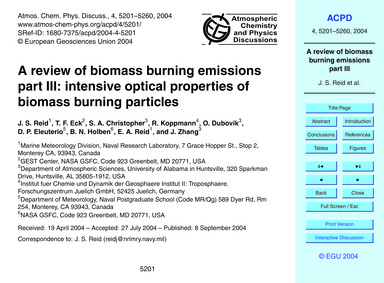 A Review of Biomass Burning Emissions Pa... by Reid, J. S.
