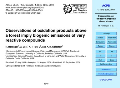 Observations of Oxidation Products Above... by Holzinger, R.
