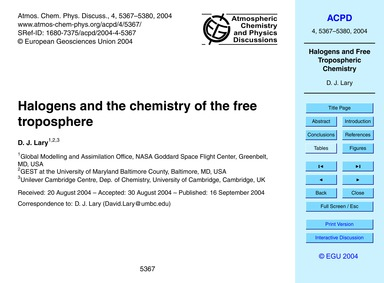 Halogens and the Chemistry of the Free T... by Lary, D. J.