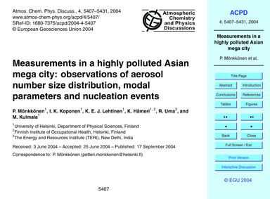Measurements in a Highly Polluted Asian ... by Mönkkönen, P.