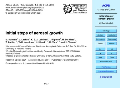 Initial Steps of Aerosol Growth : Volume... by Kulmala, O.