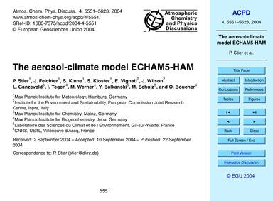 The Aerosol-climate Model Echam5-ham : V... by Stier, P.