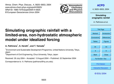Simulating Orographic Rainfall with a Li... by Pathirana, A.