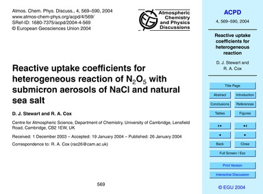 Reactive Uptake Coefficients for Heterog... by Stewart, D. J.