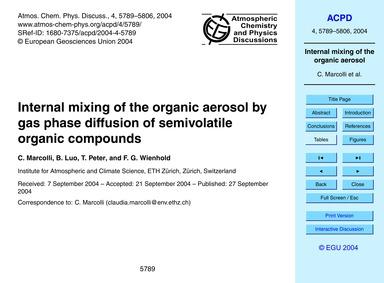 Internal Mixing of the Organic Aerosol b... by Marcolli, C.