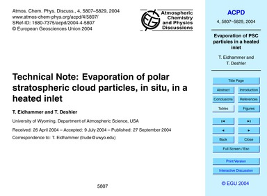 Technical Note: Evaporation of Polar Str... by Eidhammer, T.