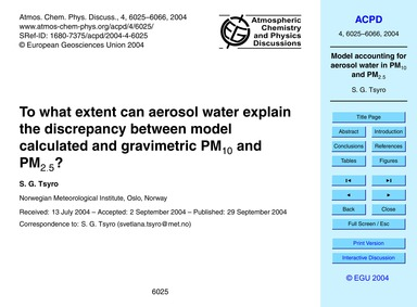 To What Extent Can Aerosol Water Explain... by Tsyro, S. G.