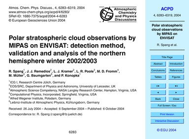 Polar Stratospheric Cloud Observations b... by Spang, R.
