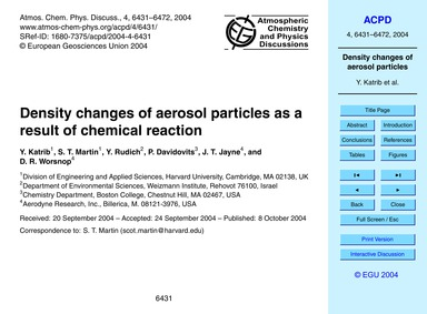 Density Changes of Aerosol Particles as ... by Katrib, Y.