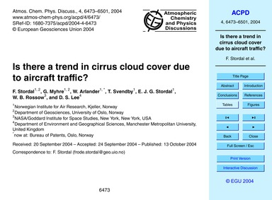 Is There a Trend in Cirrus Cloud Cover D... by Stordal, F.