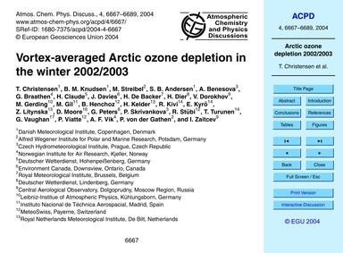 Vortex-averaged Arctic Ozone Depletion i... by Christensen, T.