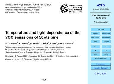 Temperature and Light Dependence of the ... by Tarvainen, V.