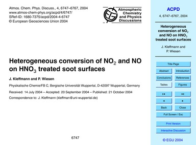 Heterogeneous Conversion of No2 and No o... by Kleffmann, J.