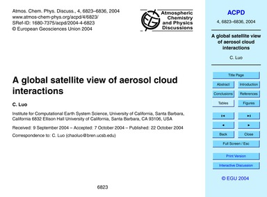 A Global Satellite View of Aerosol Cloud... by Luo, C.