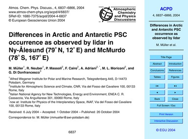 Differences in Arctic and Antarctic Psc ... by Müller, M.