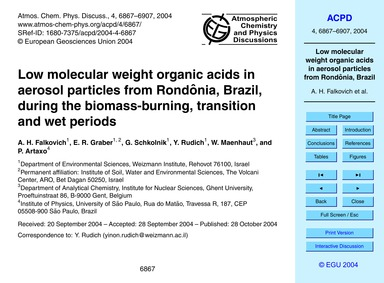 Low Molecular Weight Organic Acids in Ae... by Falkovich, A. H.