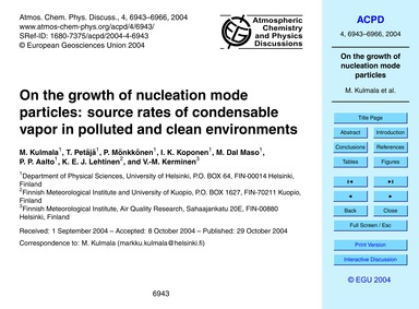On the Growth of Nucleation Mode Particl... by Kulmala, M.