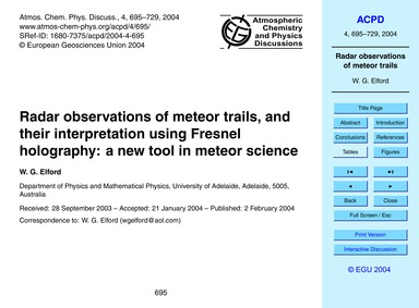 Radar Observations of Meteor Trails, and... by Elford, W. G.
