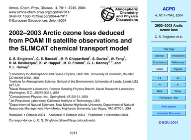2002–2003 Arctic Ozone Loss Deduced from... by Singleton, C. S.