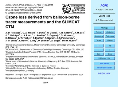 Ozone Loss Derived from Balloon-borne Tr... by Robinson, A. D.