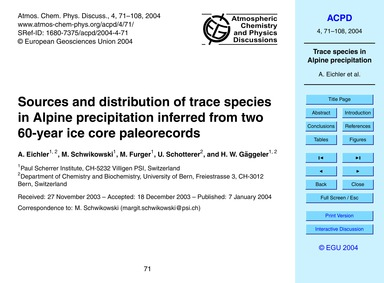Sources and Distribution of Trace Specie... by Eichler, A.