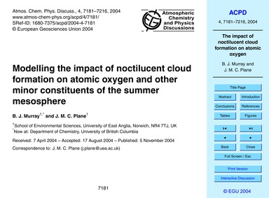Modelling the Impact of Noctilucent Clou... by Murray, B. J.