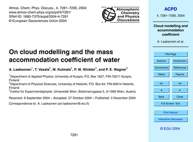 On Cloud Modelling and the Mass Accommod... by Laaksonen, A.
