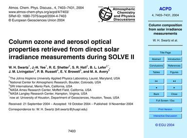 Column Ozone and Aerosol Optical Propert... by Swartz, W. H.