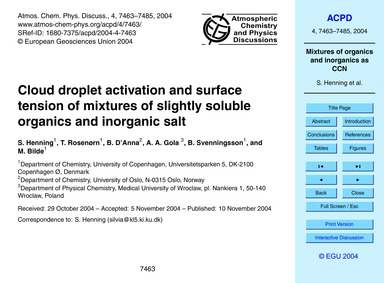 Cloud Droplet Activation and Surface Ten... by Henning, S.