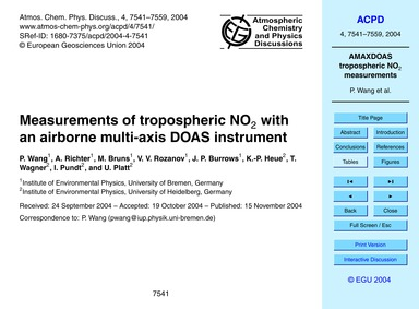 Measurements of Tropospheric No2 with an... by Wang, P.