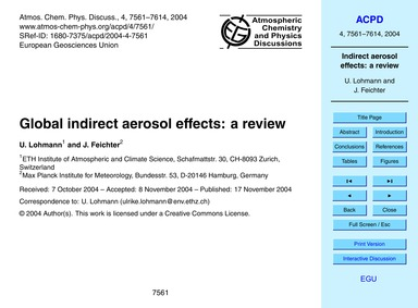 Global Indirect Aerosol Effects: a Revie... by Lohmann, U.