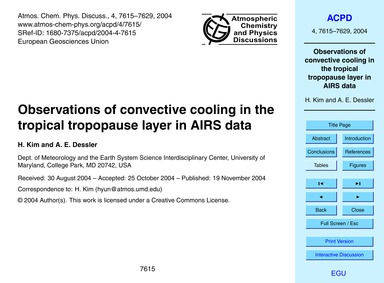 Observations of Convective Cooling in th... by Kim, H.
