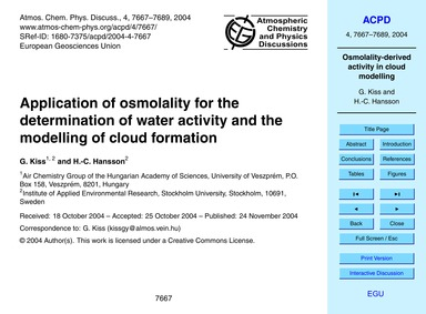 Application of Osmolality for the Determ... by Kiss, G.