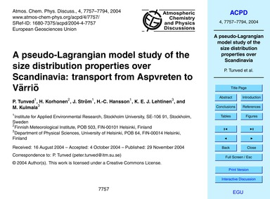 A Pseudo-lagrangian Model Study of the S... by Tunved, P.