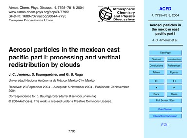 Aerosol Particles in the Mexican East Pa... by Jiménez, J. C.