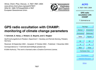Gps Radio Occultation with Champ: Monito... by Schmidt, T.