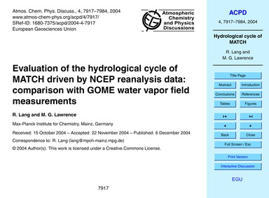 Evaluation of the Hydrological Cycle of ... by Lang, R.