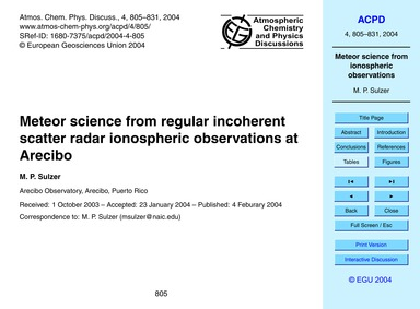 Meteor Science from Regular Incoherent S... by Sulzer, M. P.