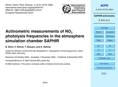 Actinometric Measurements of No2 Photoly... by Bohn, B.